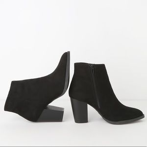 Express Black Suede Ankle Booties
